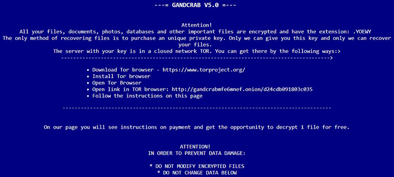 [capitalized file extension]-DECRYPT.html ransom note by GandCrab v5.0