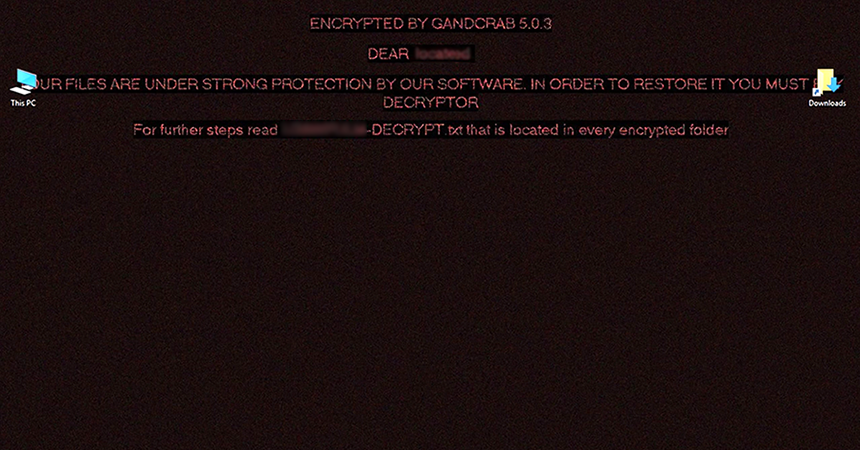 GandCrab 5.0.3 replaces desktop wallpaper with a warning message