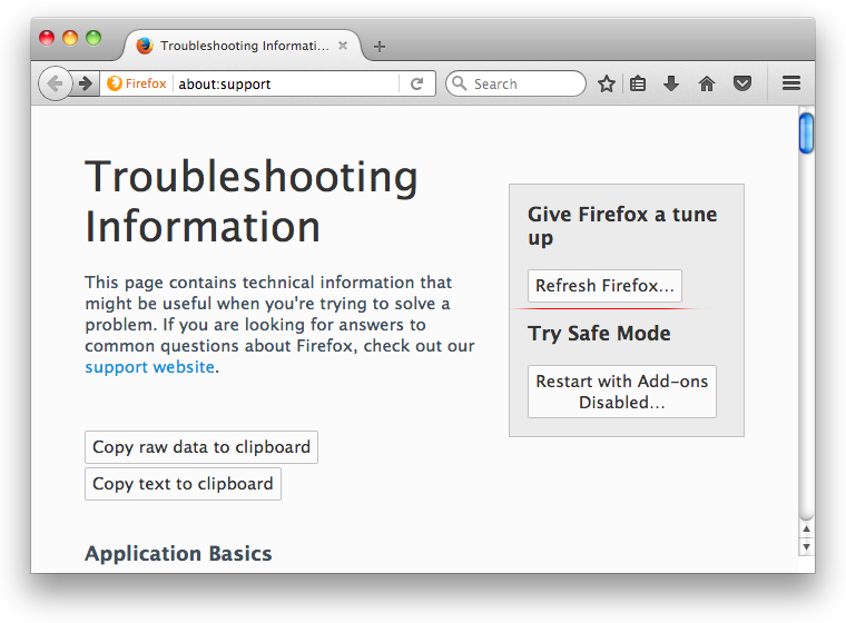 Mozilla Firefox reset on Mac