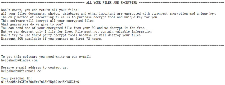Contents of the _openme.txt ransom note by the .djvu ransomware