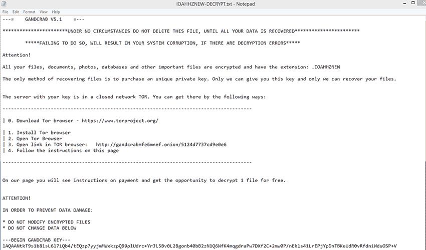 GandCrab v5.1 decryption instructions file