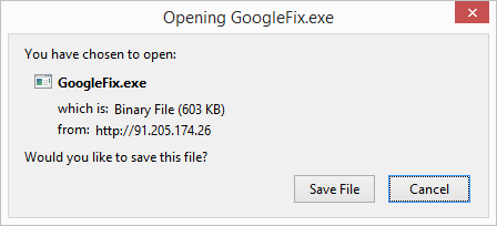 Pop up dialog caused by GoogleFix.exe virus