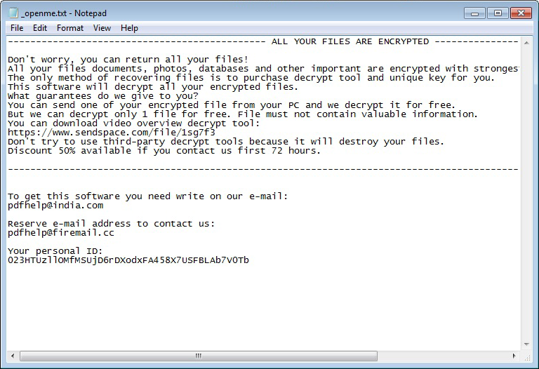 _openme.txt ransom note generated by the .pdff ransomware