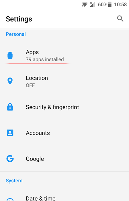Go to Settings - Apps