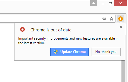 'Chrome is out of date' popup