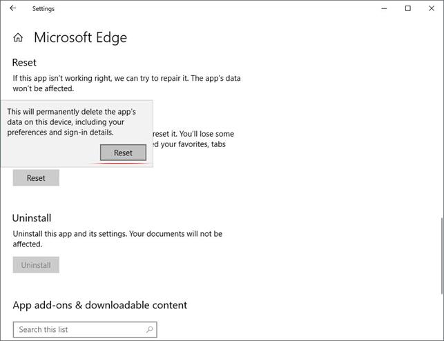 Edge reset dialog