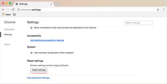 Reset Chrome settings on Mac