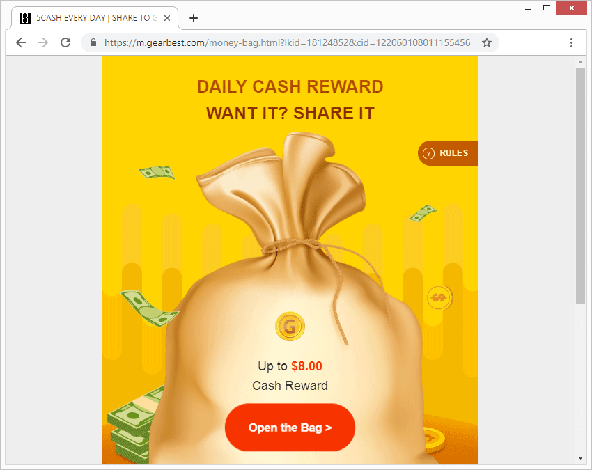 One of the landing pages promoted through pushwhy.com redirects