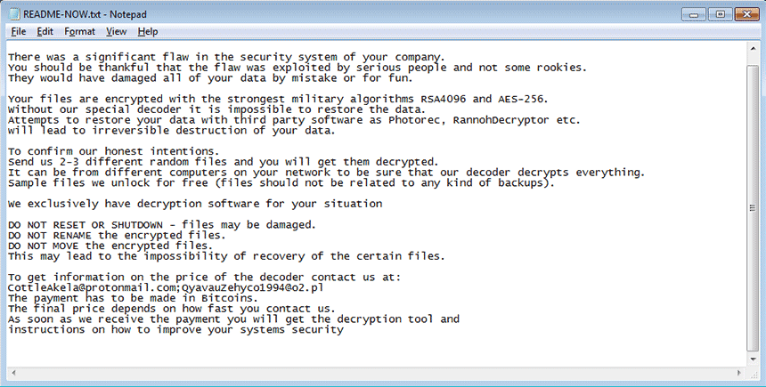 README-NOW.txt ransom note by LockerGoga