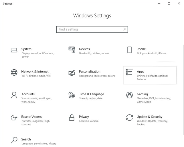 Windows 10 Settings - Apps