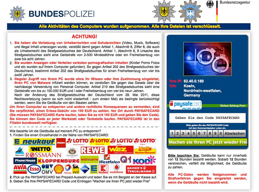 Browser lock variant of the BKA Bundespolizei ransom Trojan