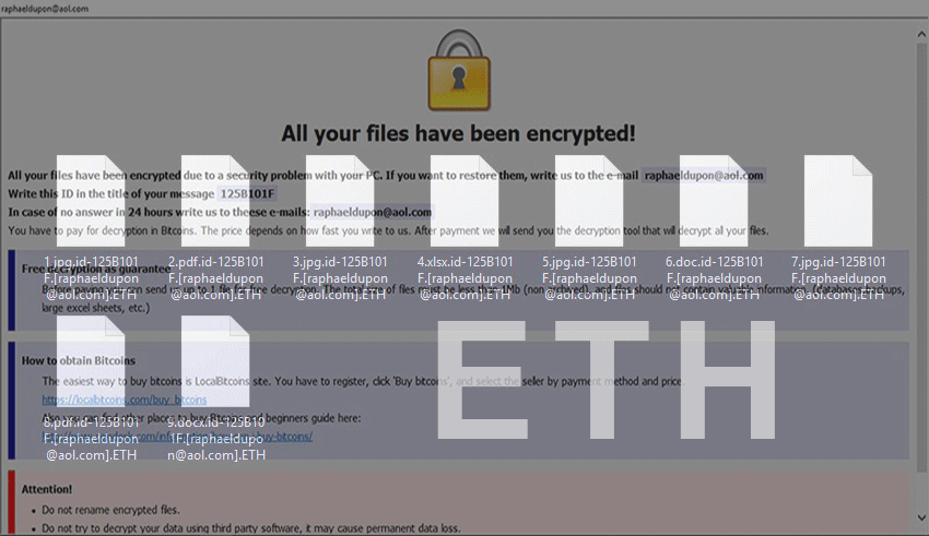ETH ransomware decryptor and removal - MySpyBot