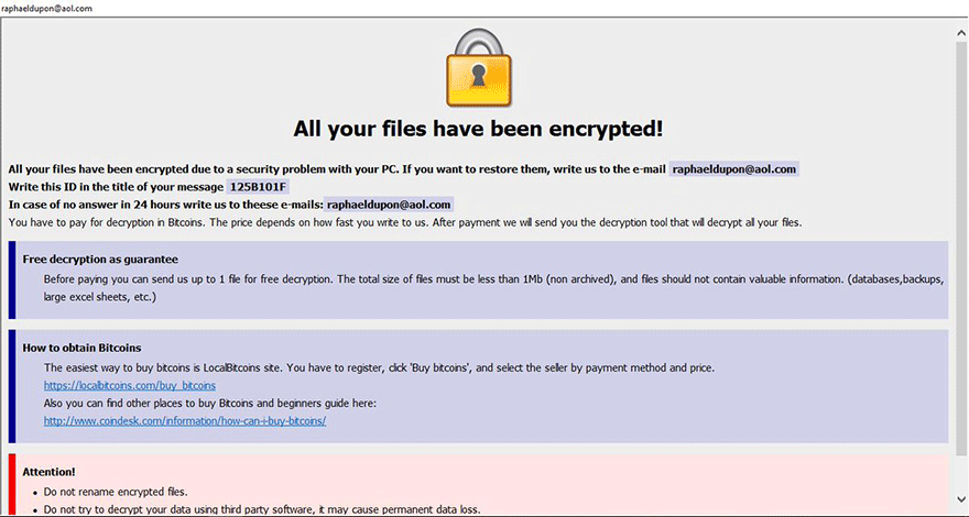 .ETH ransomware displays HTA ransom note in addition to dropping FILES ENCRYPTED.txt manual