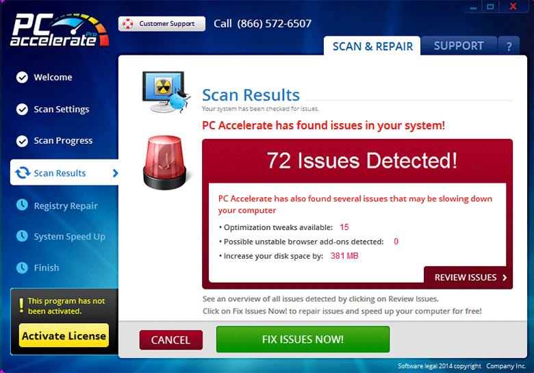 The GUI of PCaPro malware, aka PC Accelerate Pro