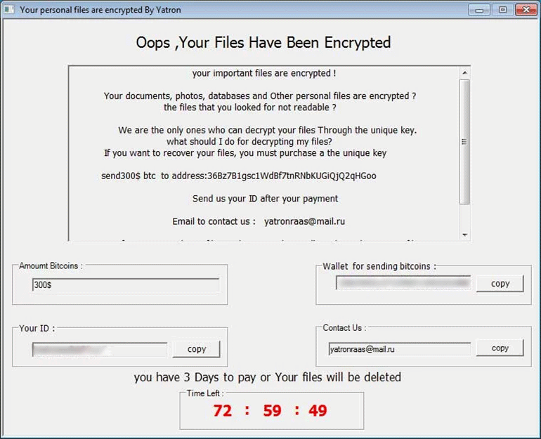 Popup ransom note by Yatron ransomware