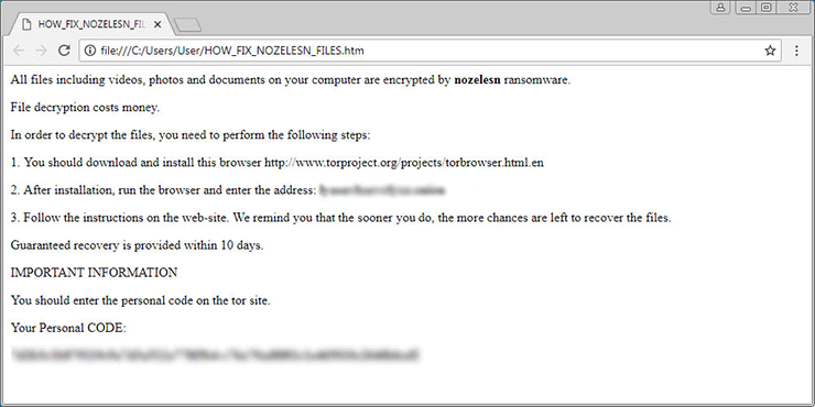 Nozelesn virus drops a ransom note named HOW_TO_FIX_NOZELESN_FILES.htm