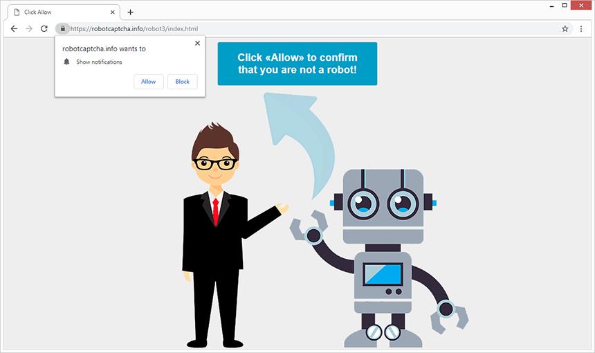 Robotcaptcha.info popup in action