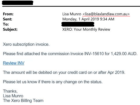 Xero subscription invoice email scam