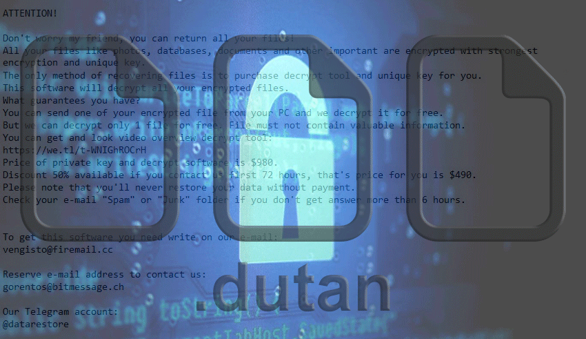 Remove Dutan ransomware and decrypt  dutan file virus - MySpyBot
