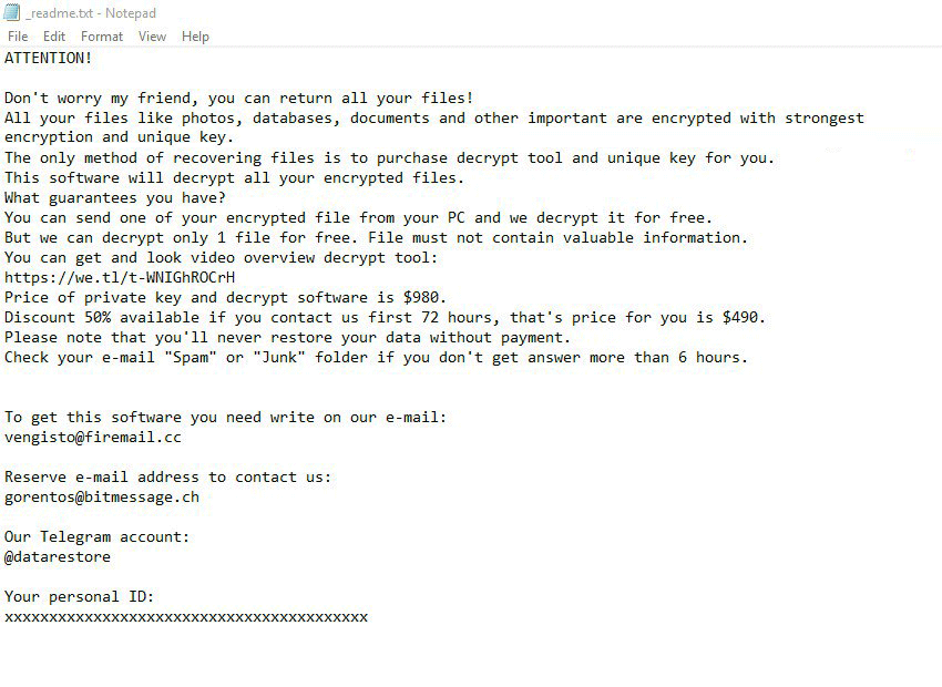 Dutan version of STOP Djvu ransomware drops _readme.txt recovery note