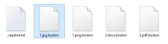 Encrypted folder with .boston extension files and a rescue note