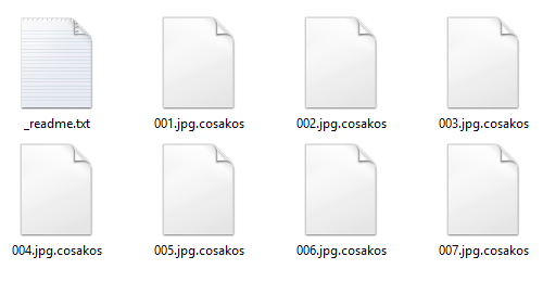 Ransom note plus .cosakos extension files in a folder