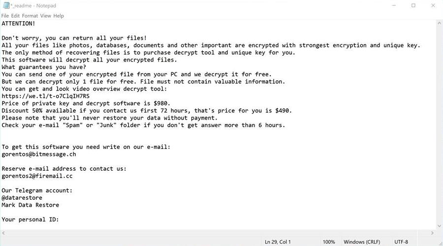 Cosakos ransomware still uses _readme.txt recovery note