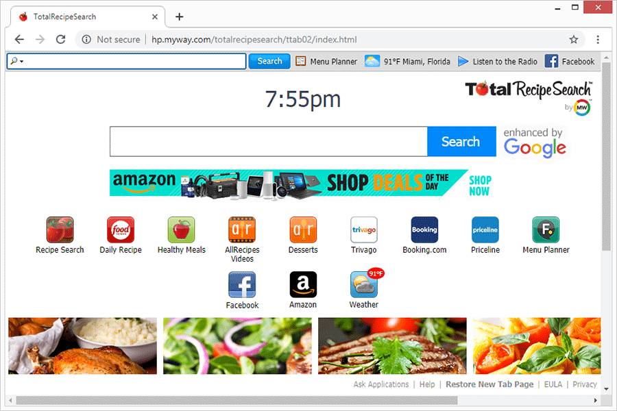 Landing page promoted by TotalRecipeSearch toolbar virus