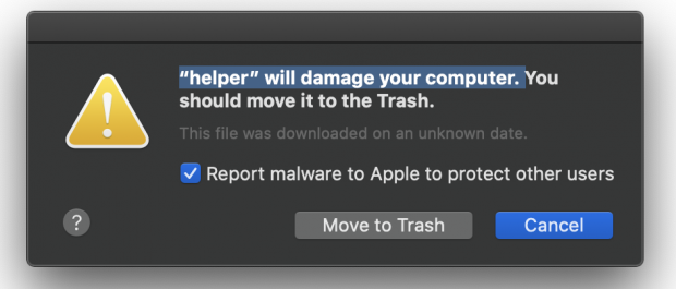 Mac alert saying a malicious process will damage your computer