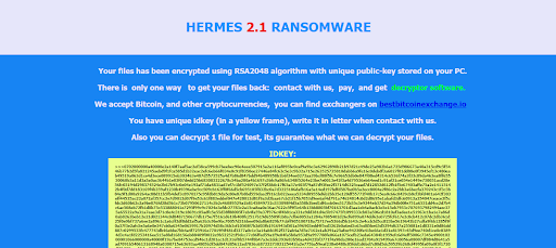 Contents of Hermes 2.1 ransomware's DECRYPT_INFORMATION.html recovery manual
