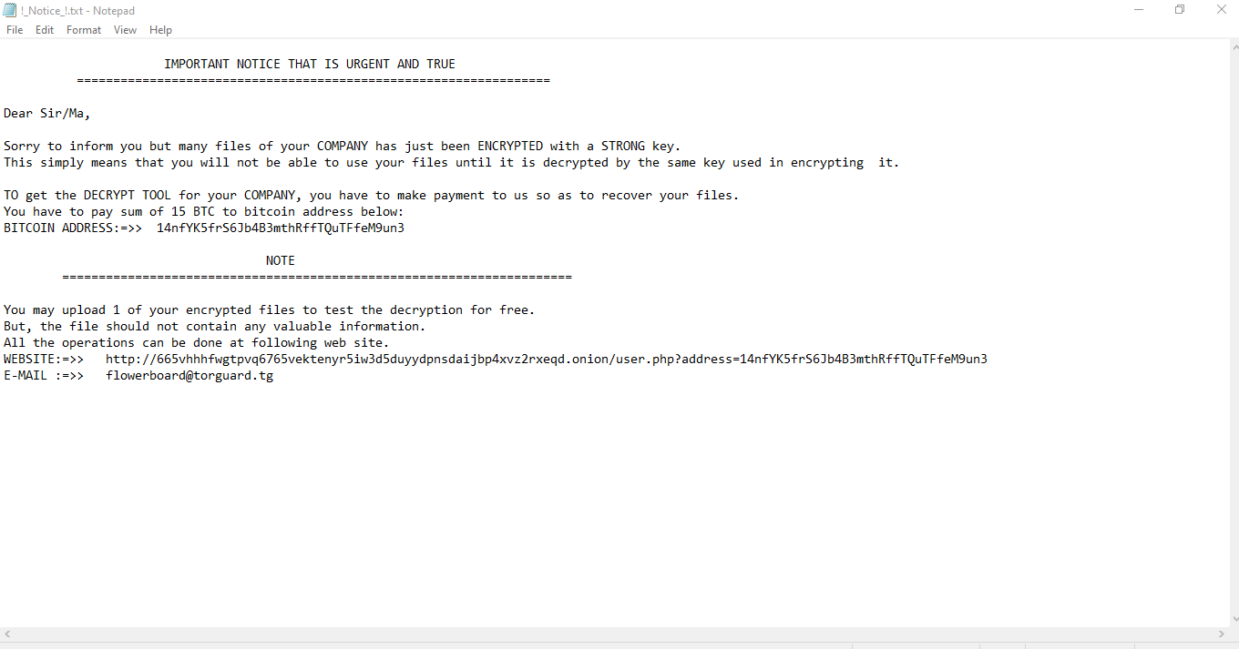 !_Notice_!.txt ransom note dropped by TFlower ransomware