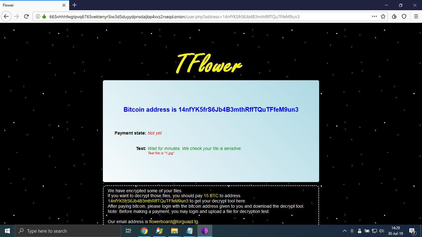 TFlower ransom payment page on Tor anonymity network