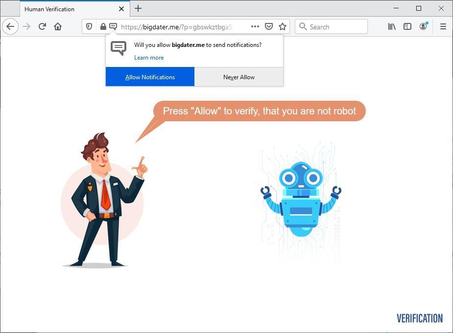 Fake human verification page parked at BigDater.me
