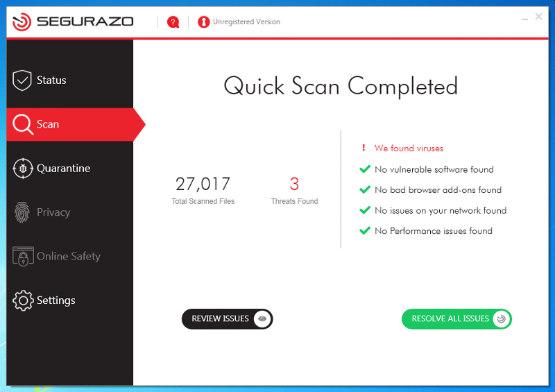 Misleading scan report shown by Segurazo Antivirus
