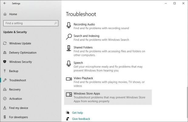 Windows 10 Troubleshoot feature
