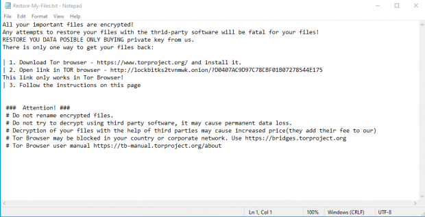 Contents of Restore-My-Files.txt ransom note created by LockBit