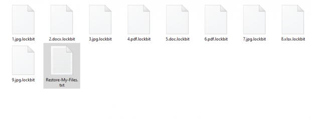 Encrypted .lockbit files and ransom note in a ransomware-stricken folder