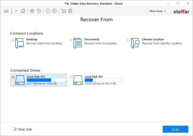 Select which PC areas to recover from