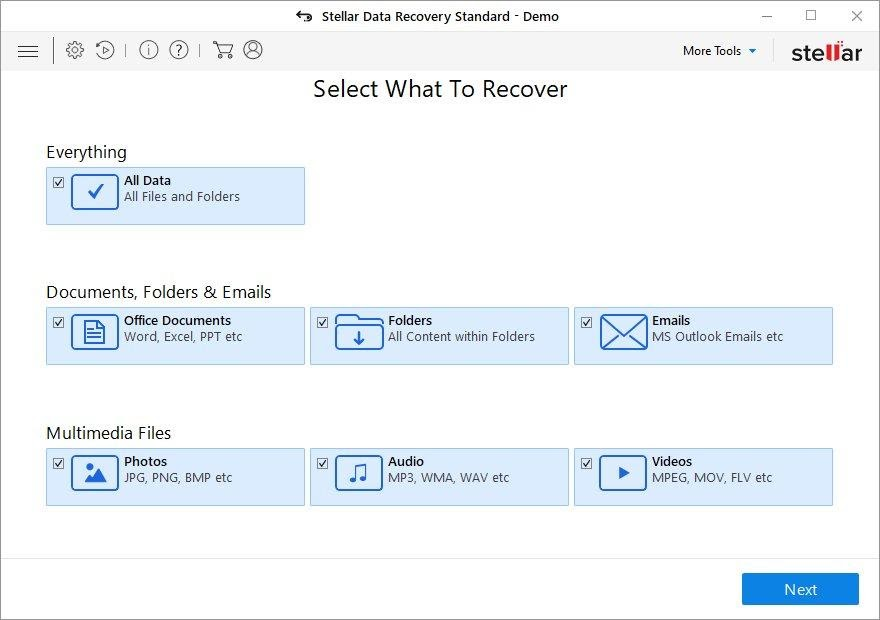 Stellar Data Recovery main screen