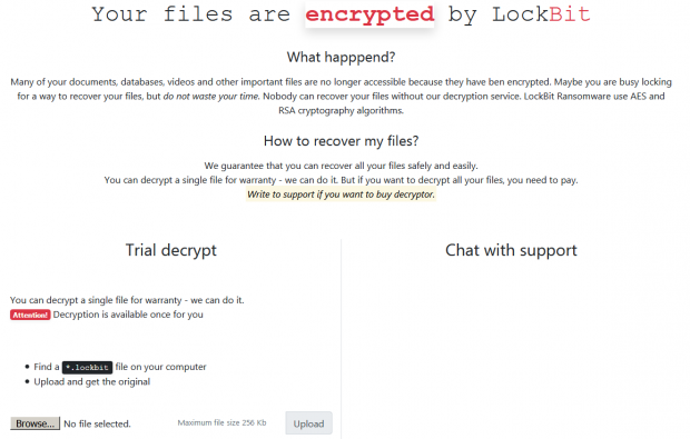 LockBit payment page