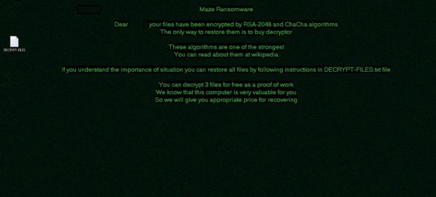 Maze ransomware warning replaces the victim's desktop background