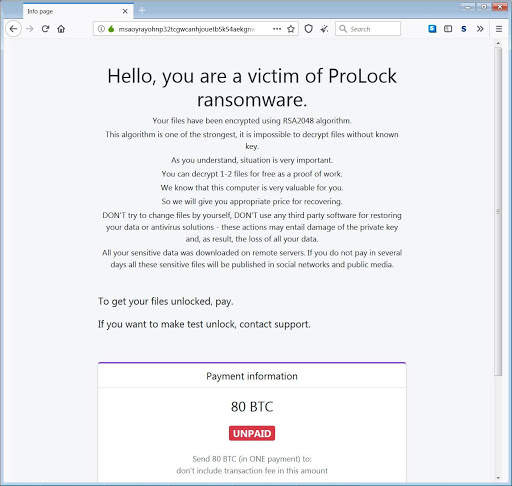 ProLock payment page