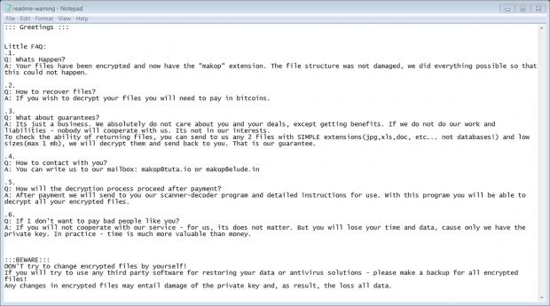 'readme-warning.txt' ransom note dropped by Makop virus