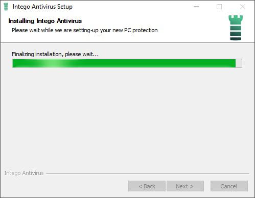 Intego Antivirus setup progress