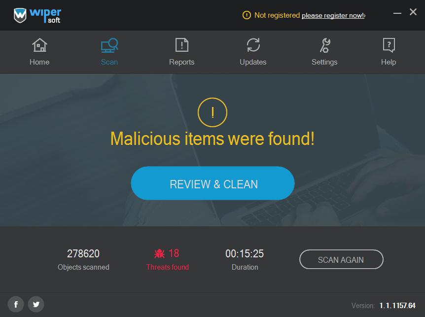 'Malicious items were found' alert