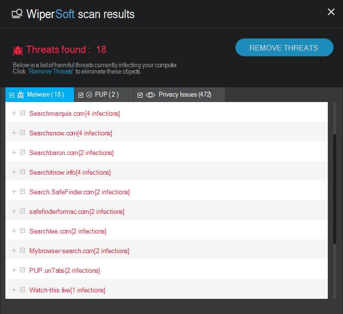 Remove detected threats