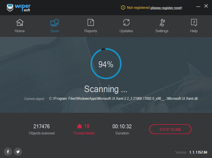 WiperSoft scan progress