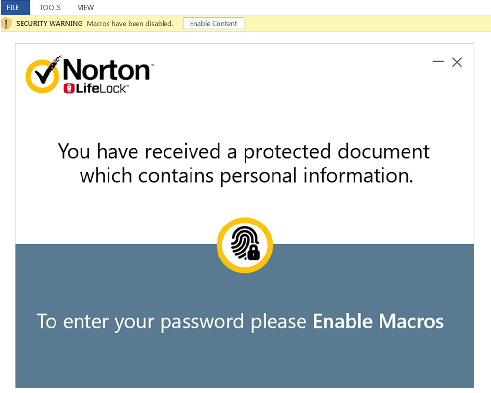 Malicious macros in a Word document attached to NortonLifeLock scam email