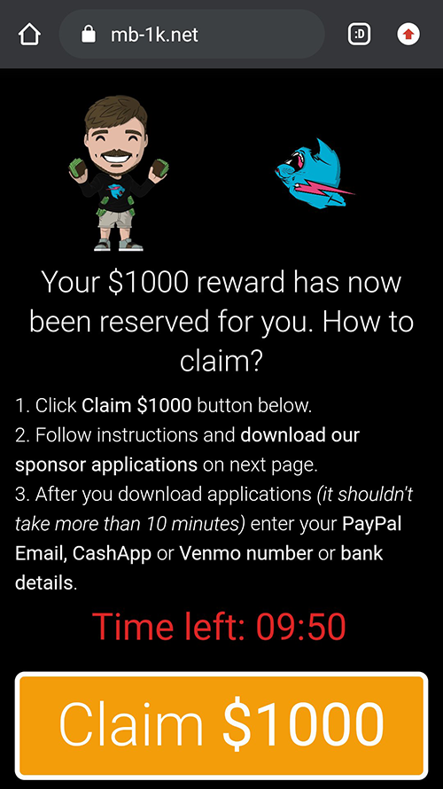 A variant of MrBeast giveaway phishing page with a countdown timer