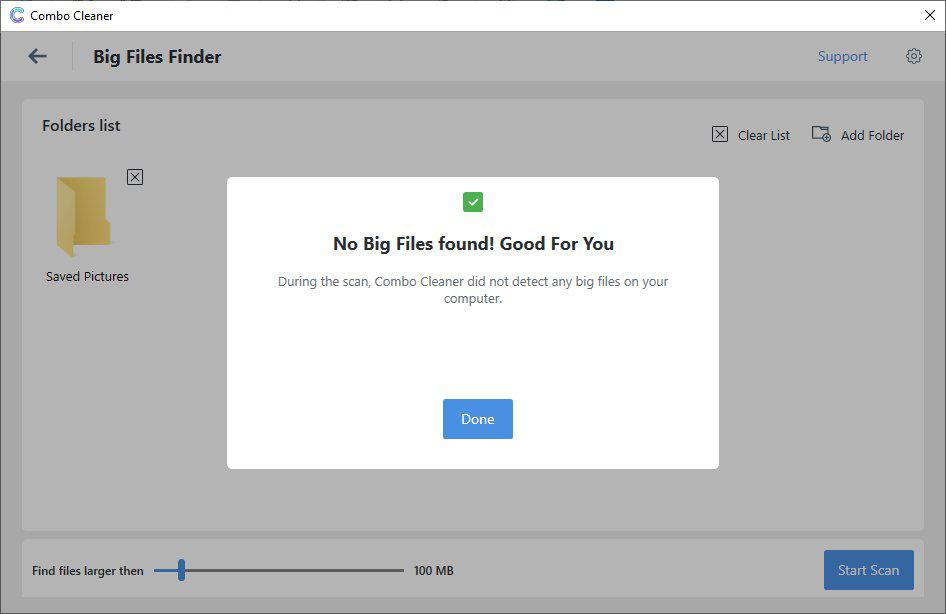 Big Files Finder report